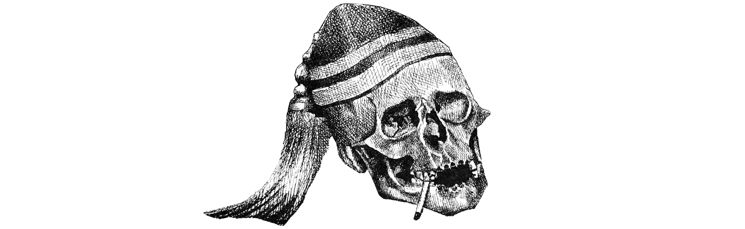 Skull with cap and cigarette