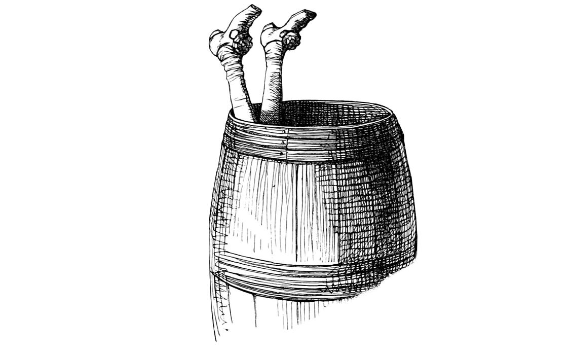 Legs sticking out of a barrel