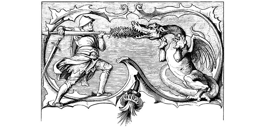 Armored warrior battling a dragon