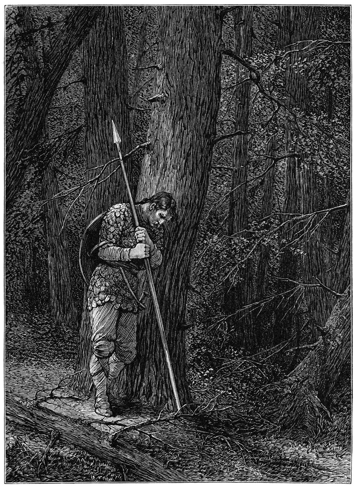 Warrior lost in forest
