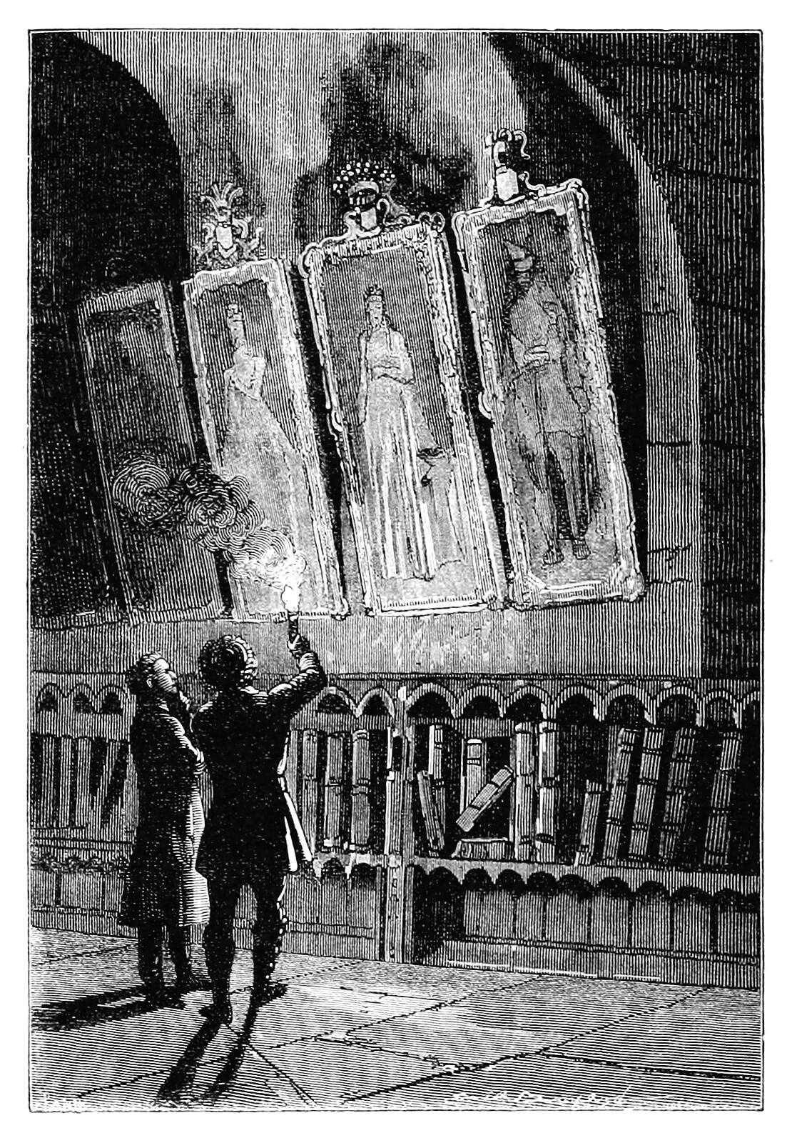 Two people inspect painting by torchlight