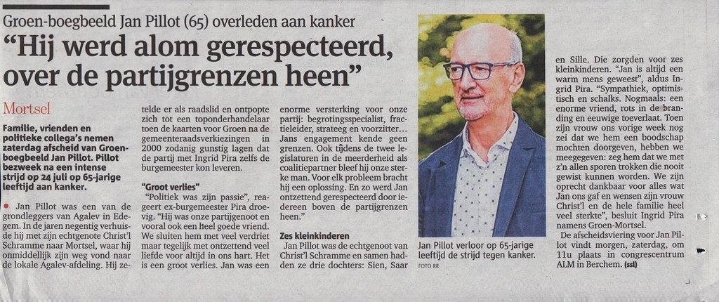 Overlijdensbericht Jan Pillot in Gazet Van Antwerpen 29/07/2016.