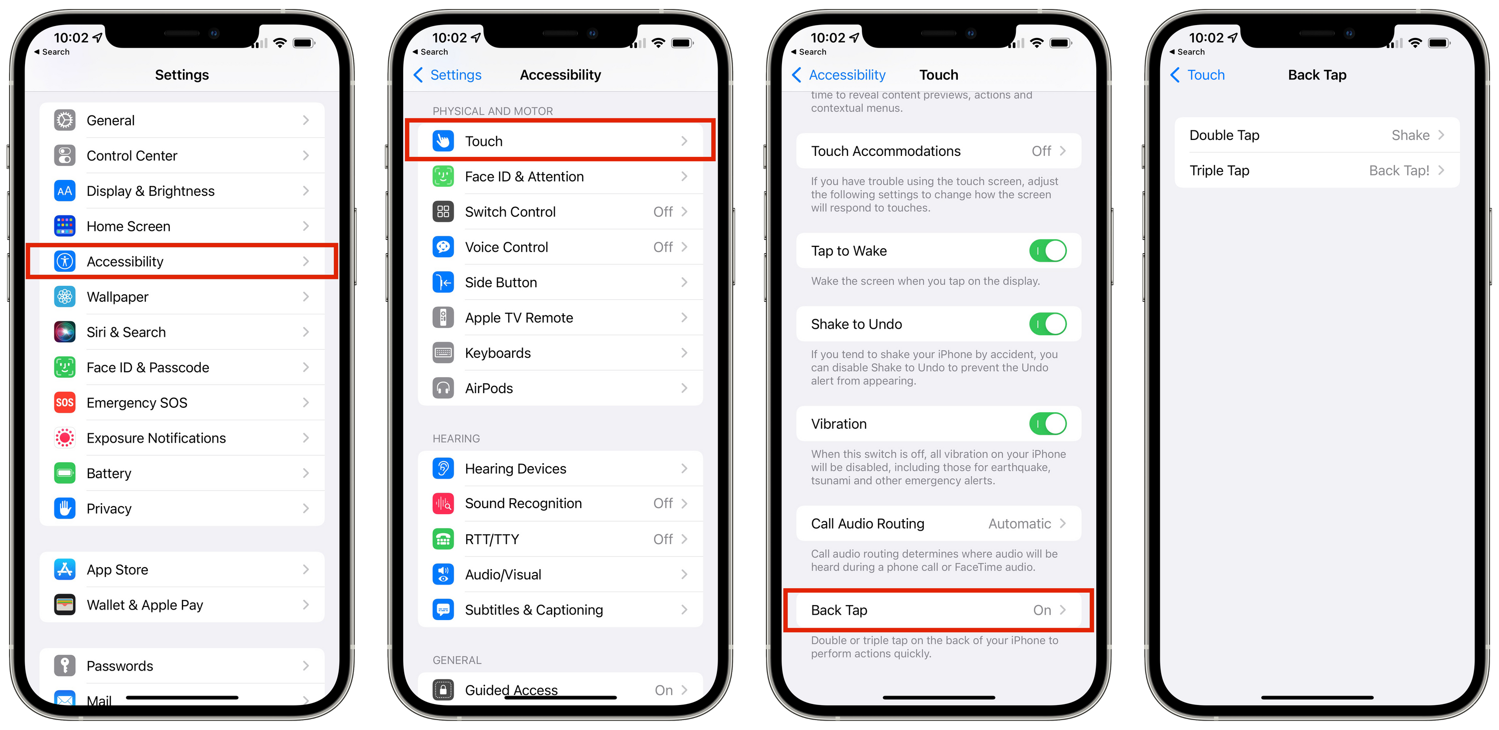 Get to Back Tap Through Accessibility Settings