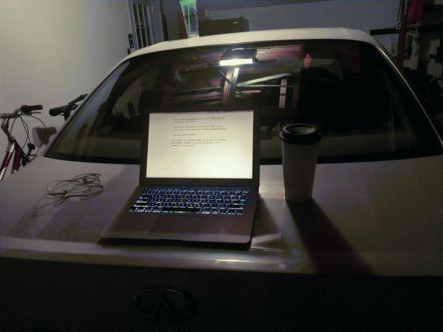Sometimes I use the back of my car as a workspace