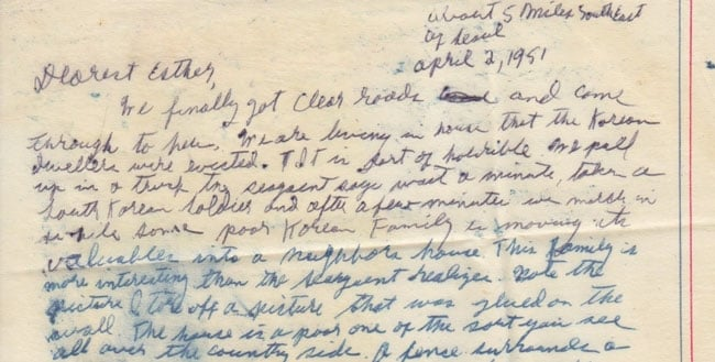 Letter from Paul Greenberg to Esther Greenberg, April 2, 1951 (excerpt)