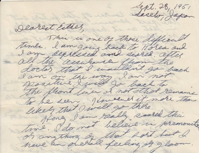 Letter from Paul Greenberg to Esther Greenberg, Sept. 28, 1951 (excerpt)