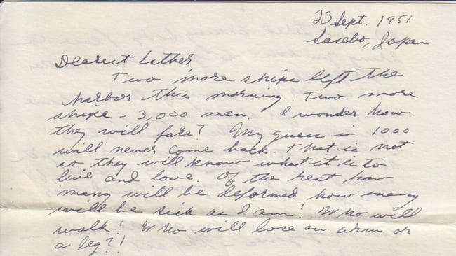 Letter from Paul Greenberg to Esther Greenberg, Sept. 23, 1951 (excerpt)