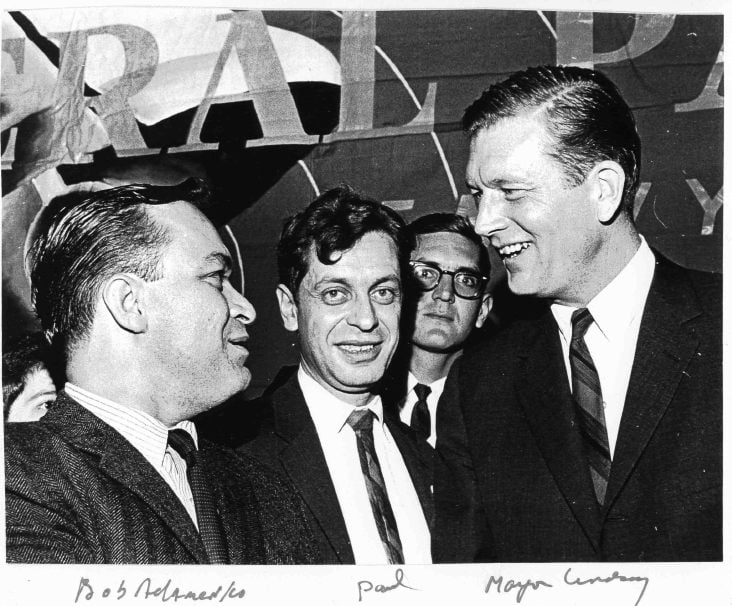 Bob Adamenko, Paul Greenberg, and John Lindsay in 1965, at Lindsay's first public appearance after winning the mayoral election in NYC.