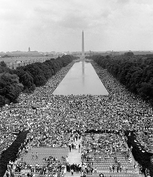 Washington marchers assembled for the rally at the Lincoln Memorial, August 28, 1963 (US Government photo)
