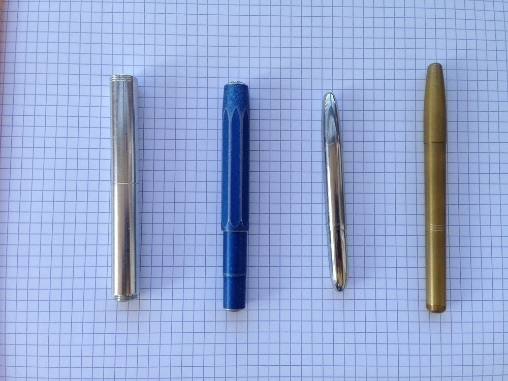 Schon DSGN pen, Kaweco Al-Sport, Fisher Bullet, Machine Era Co. Pen
