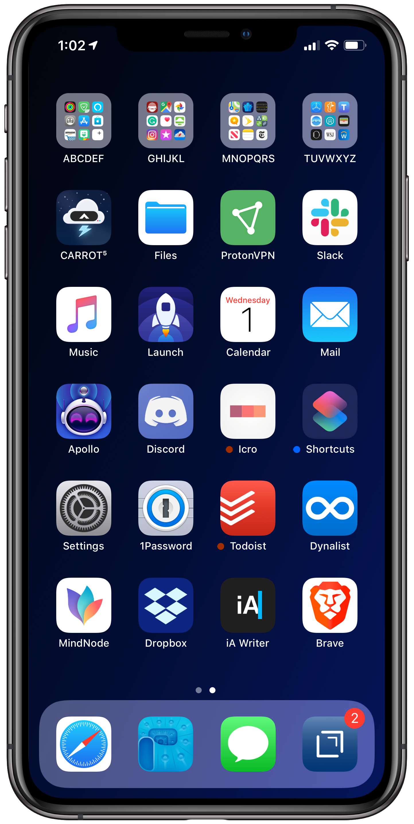 January 2019 iPhone Home Screen