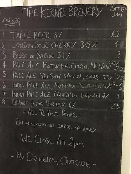 Kernel Beer Menu