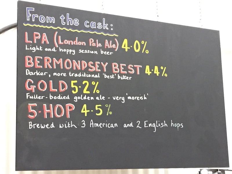 Southwark Brewing Beer Menu