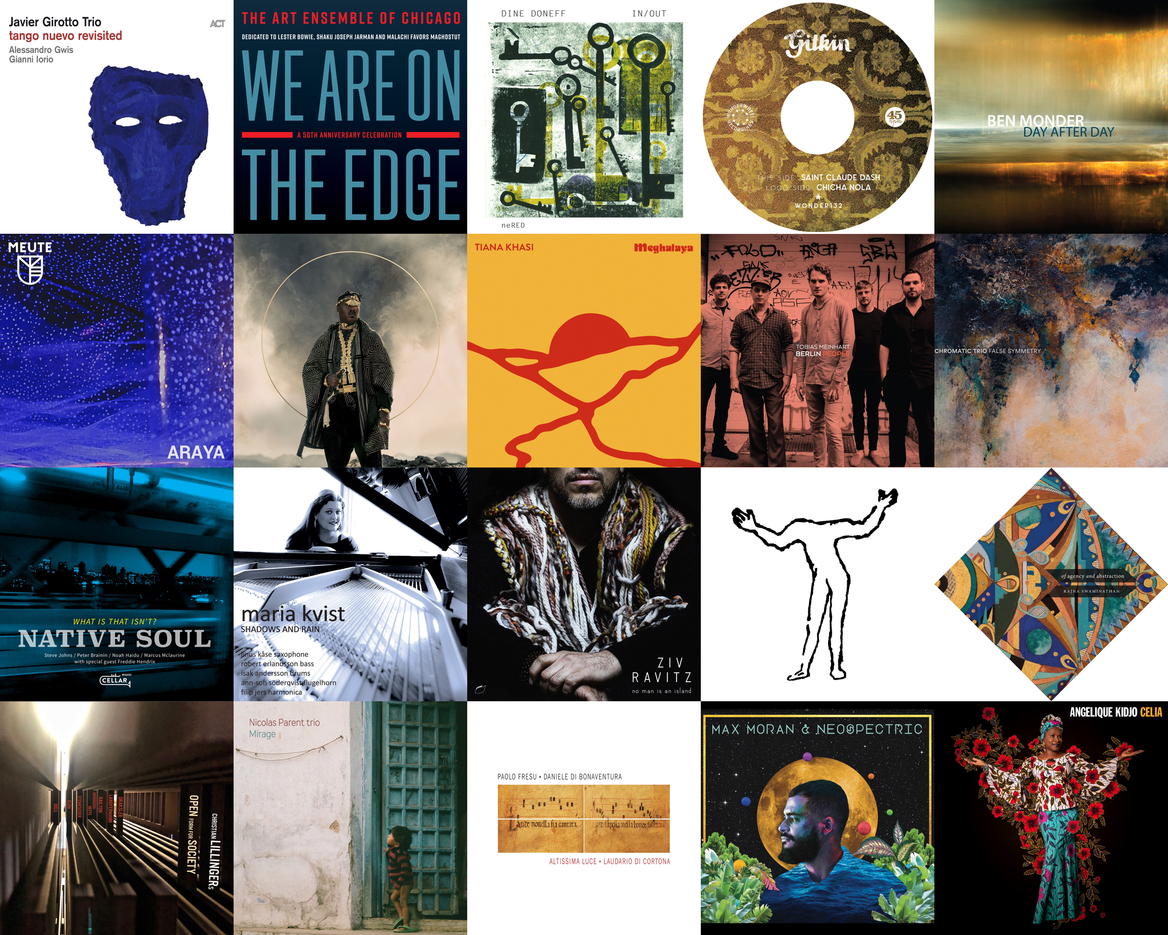 A mosaic of recently-listened-to albums' art.