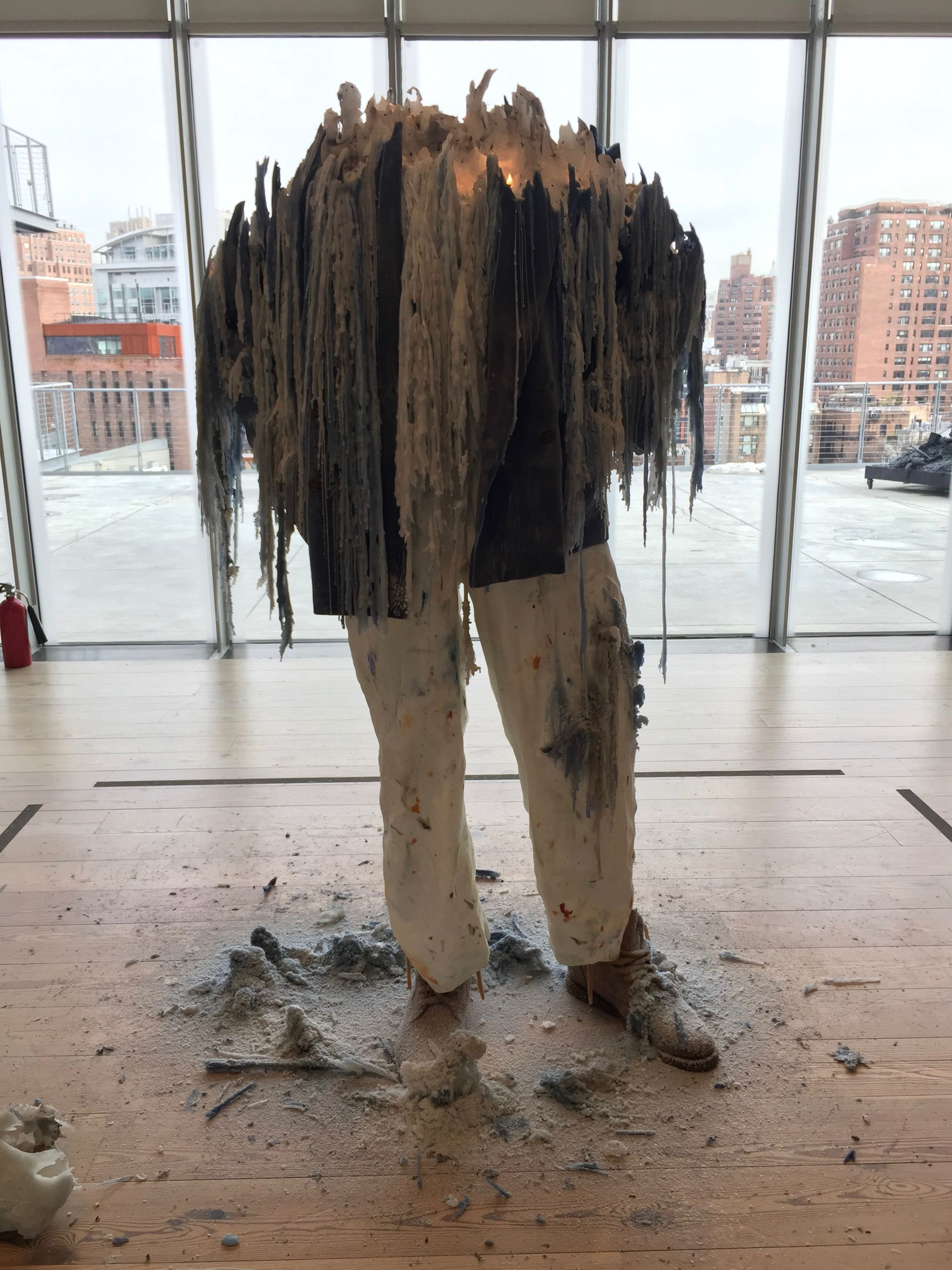 a sculpture of julian schnabel at the whitney museum, new york, january 2017