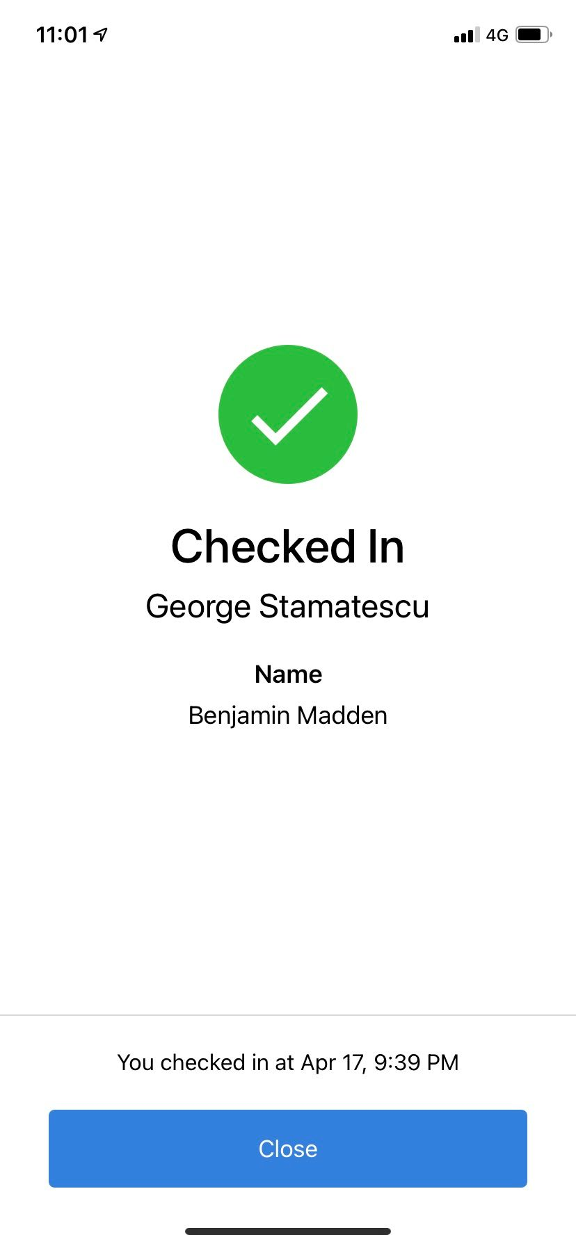 Checked in @ George