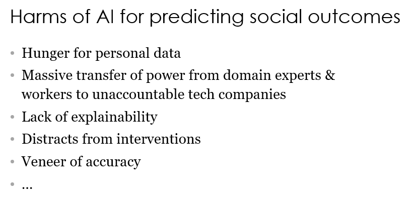 Harms of AI for predicting social outcomes