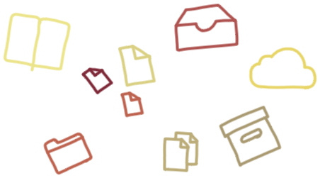 Decorative banner images depicting files and folders.