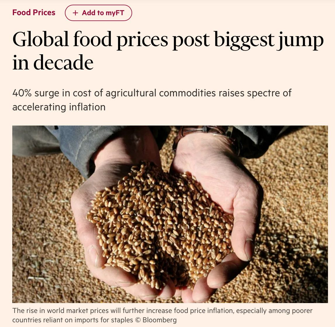 Global food prices post biggest jump in decade