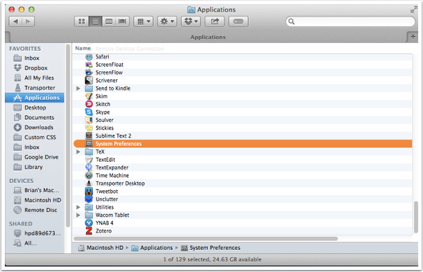 Go to System Preferences