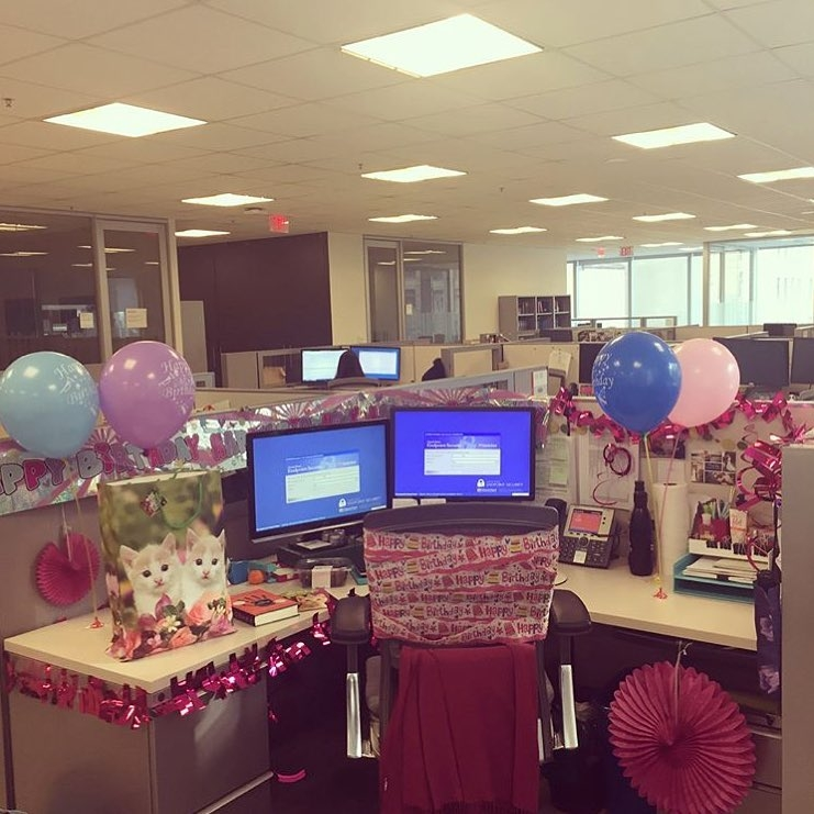 extreme decorating for coworker