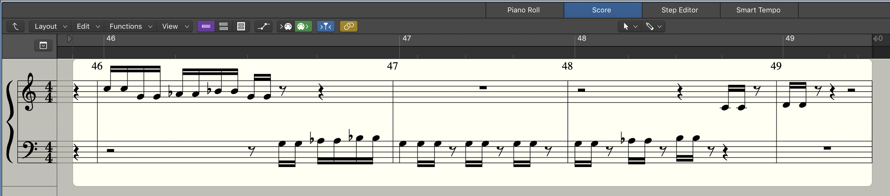 You can also choose to view a MIDI region as traditional musical notation, like this.