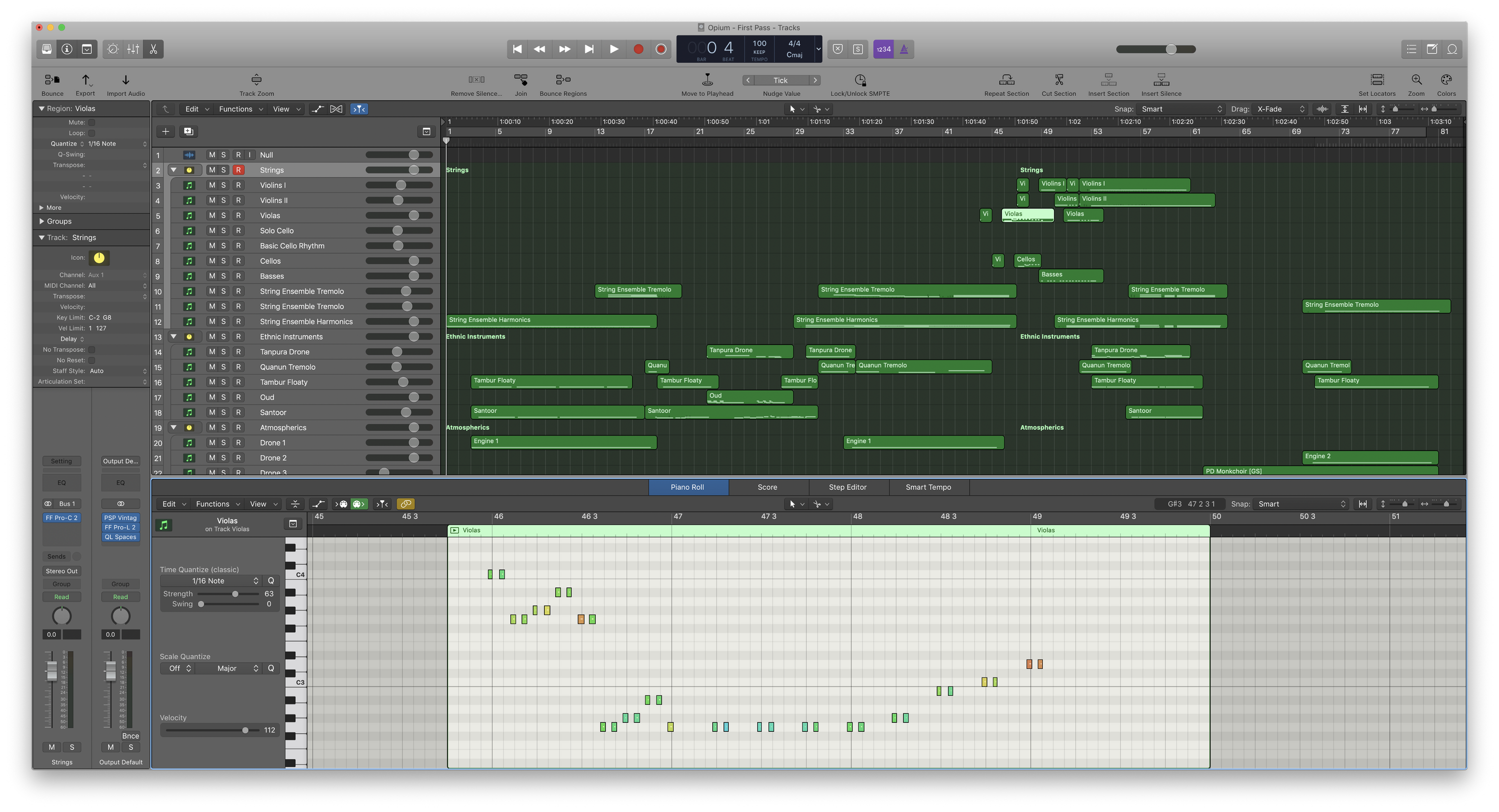 """Each green block, or """"region"""", contains MIDI data that can be viewed in various ways."""