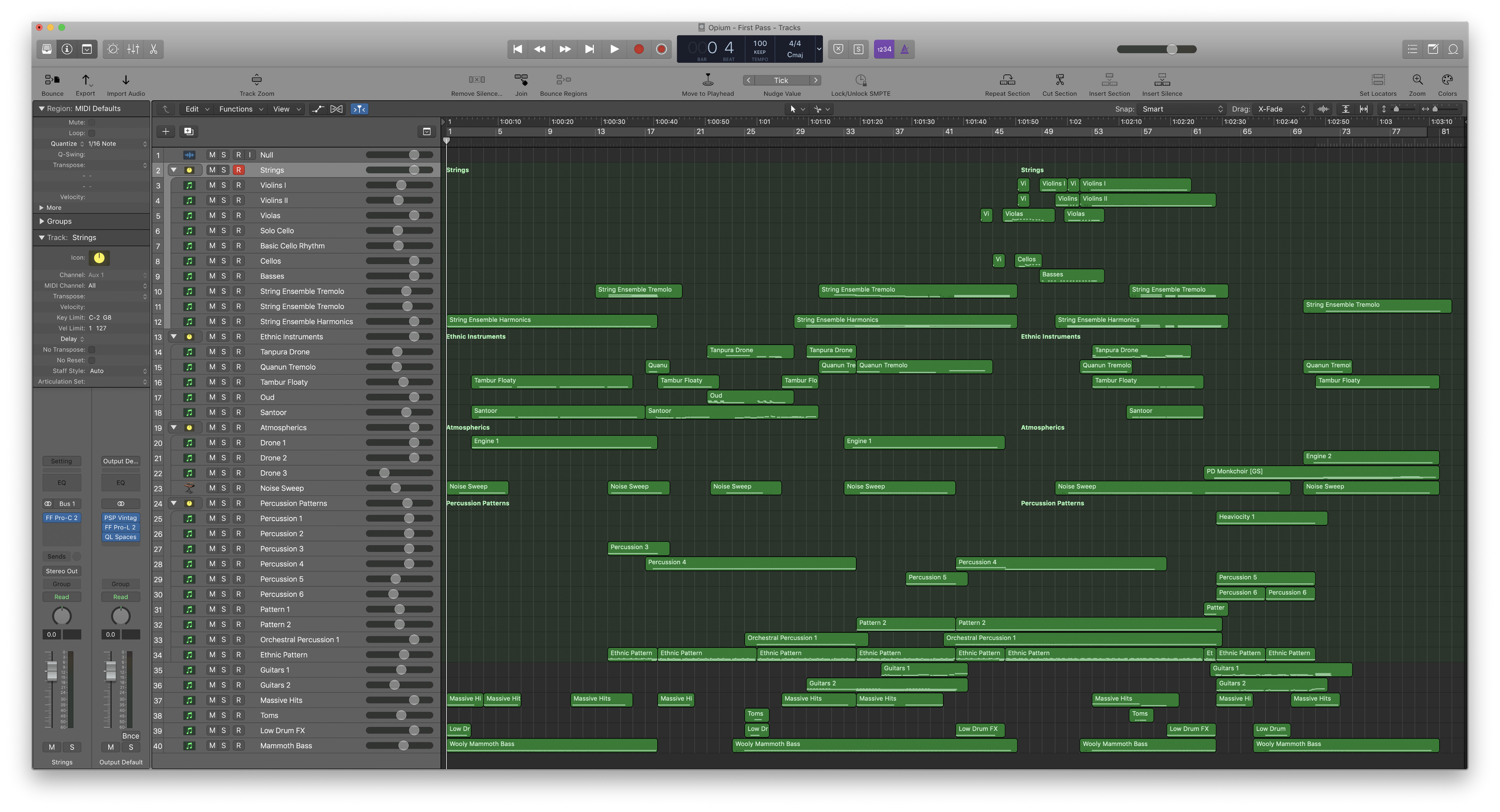A birds-eye view of the Logic Pro X project for Lethal Beauty.