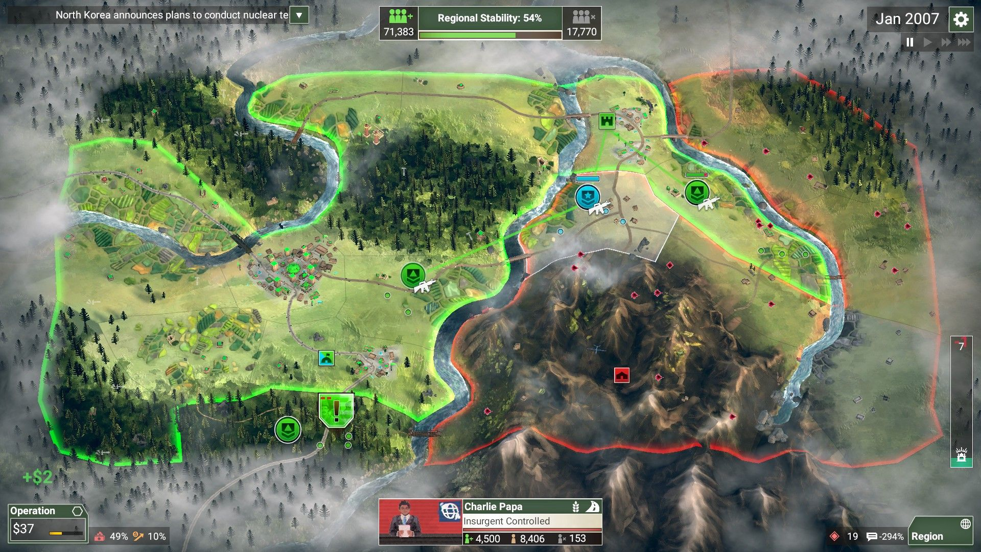 An example of Rebel Inc.'s gameplay.