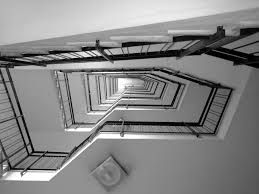 jagged staircase looking up