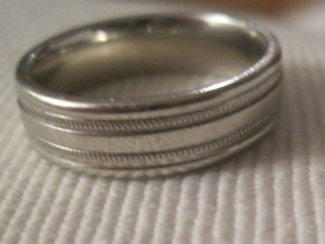 A color photo of Jay Sennett's silver wedding ring