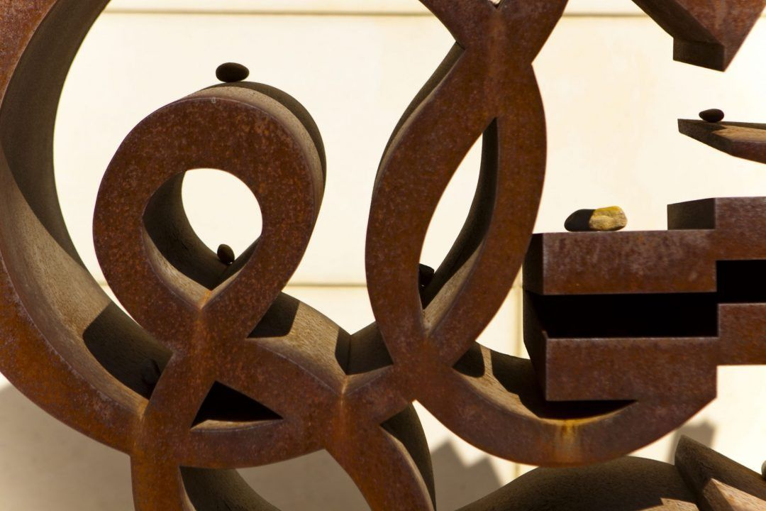 Rusted Sculpture behind UMMA. Shot with a Canon 60D by Jay Sennett.