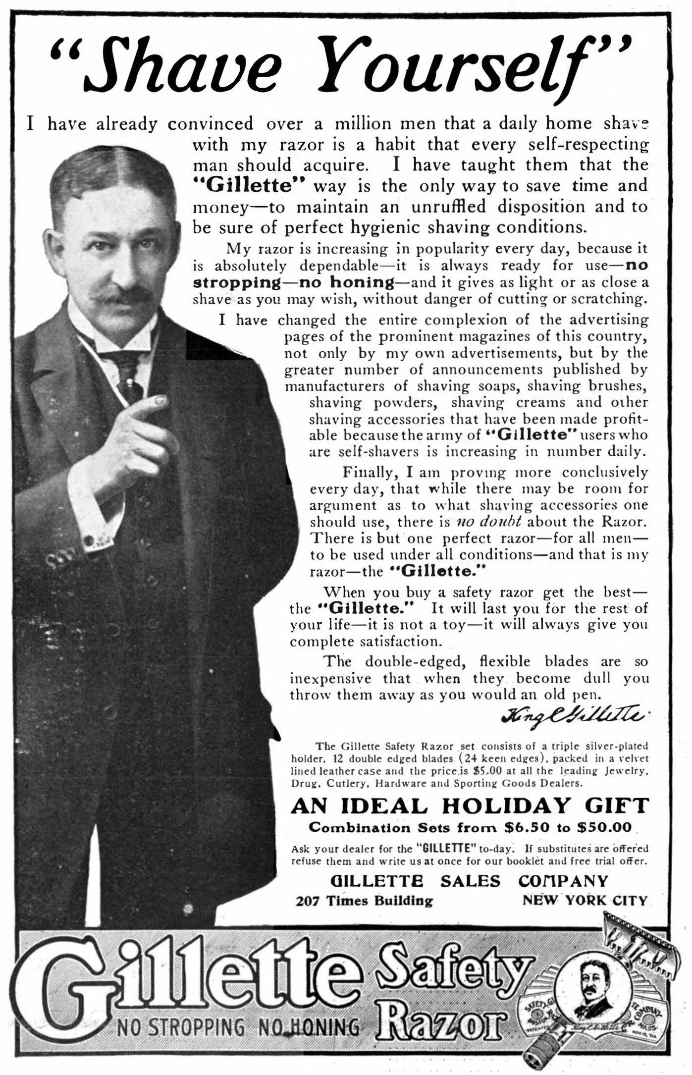 Gilette Werbung, 1907