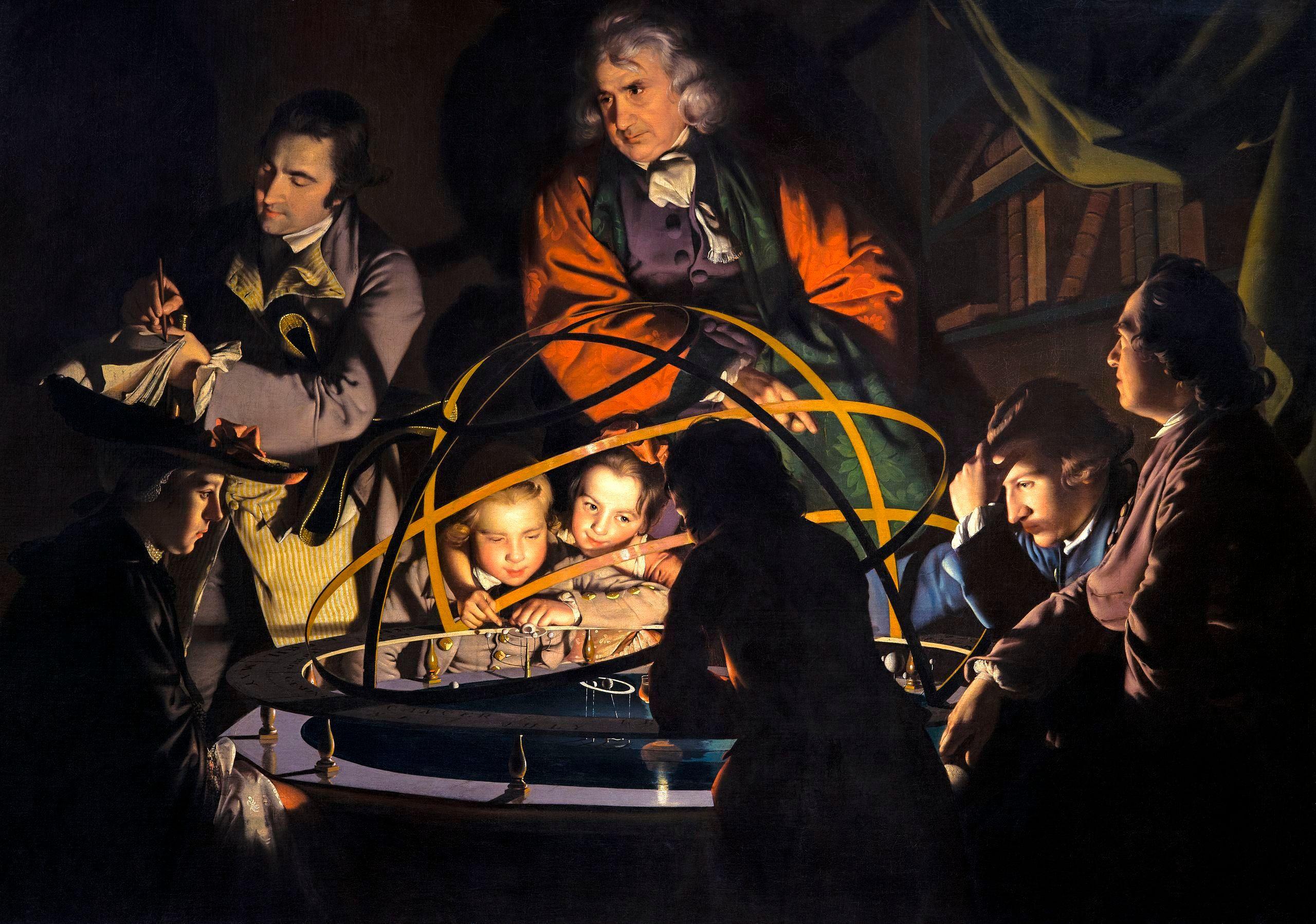 Eine wahrlich innovative Idee, illustriert von Joseph Wright: A Philosopher Lecturing on the Orrery (1766)