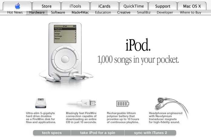 Apple Website 2001, archive.org