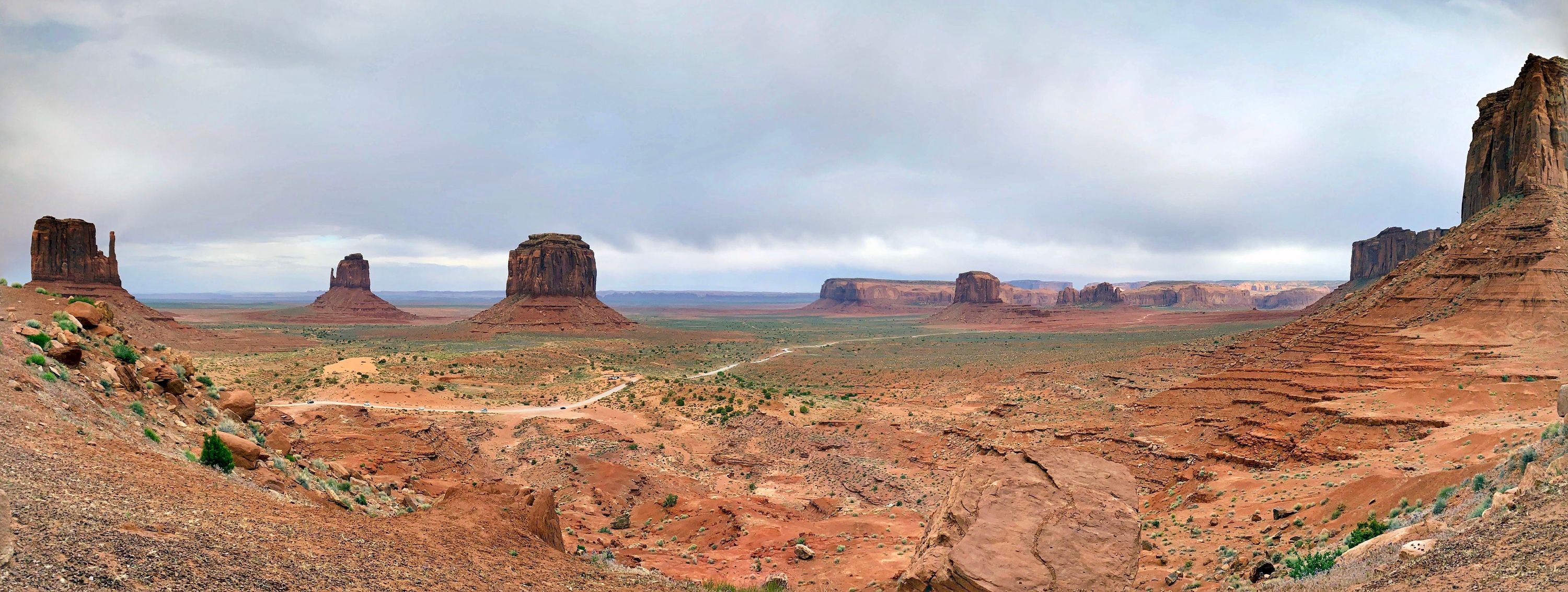 Panoramic view of Monument Valley from a balcony at The View Hotel at Monument Valley