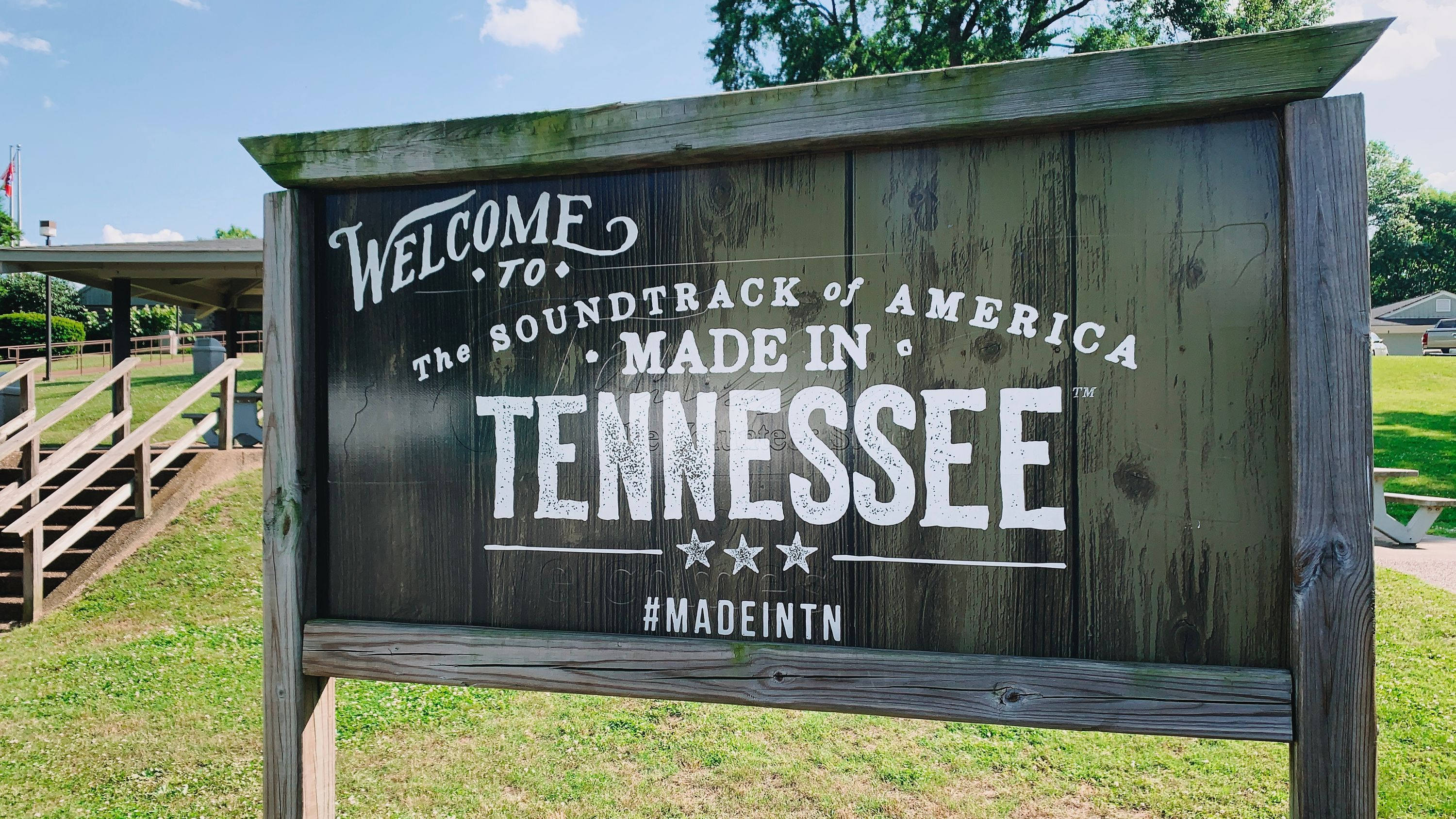 A Tennessee rest area sign advertising Tennessee as the birthplace of the Soundtrack to America