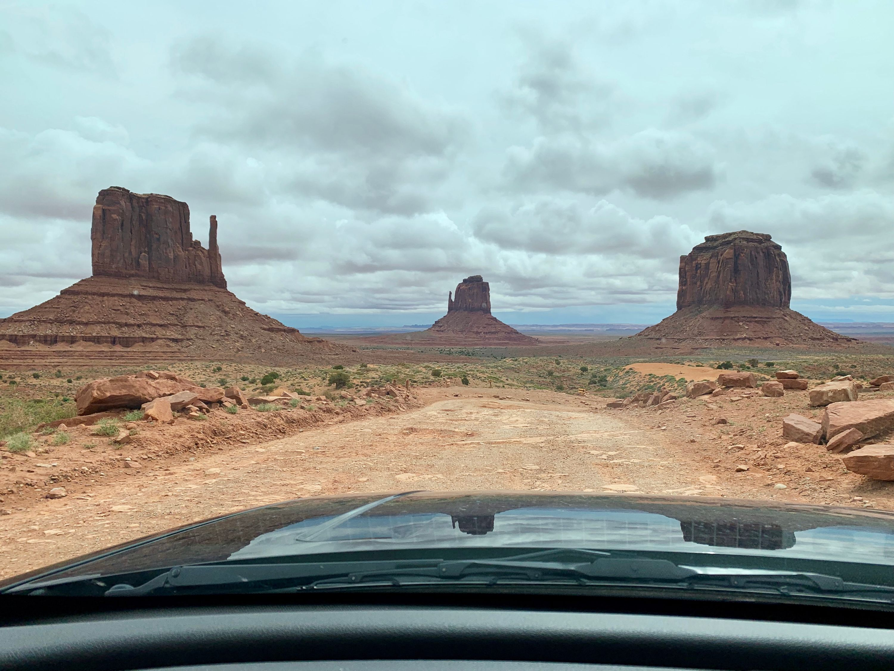 POV image while driving through Monument Valley