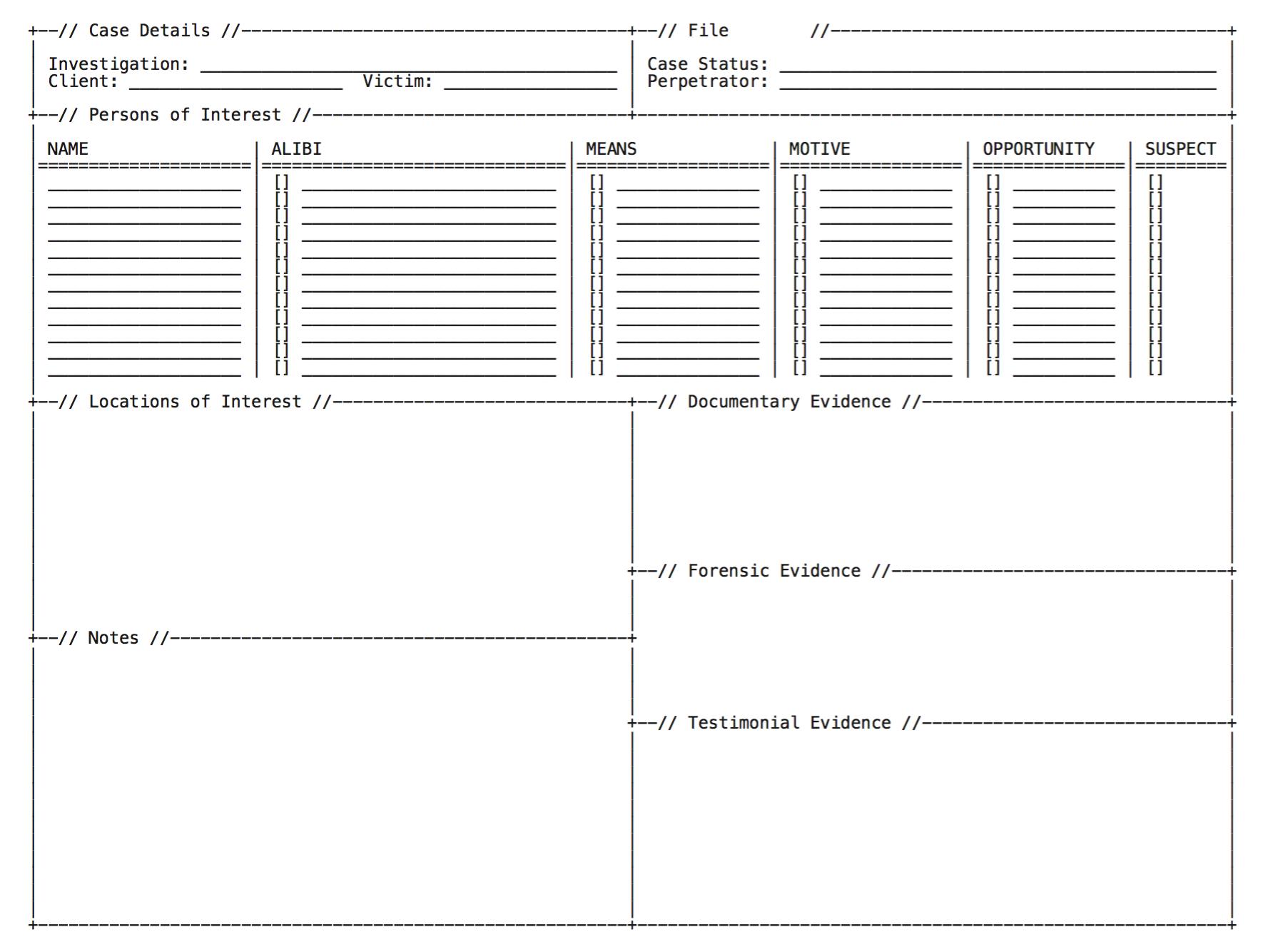 Blank investigation sheet