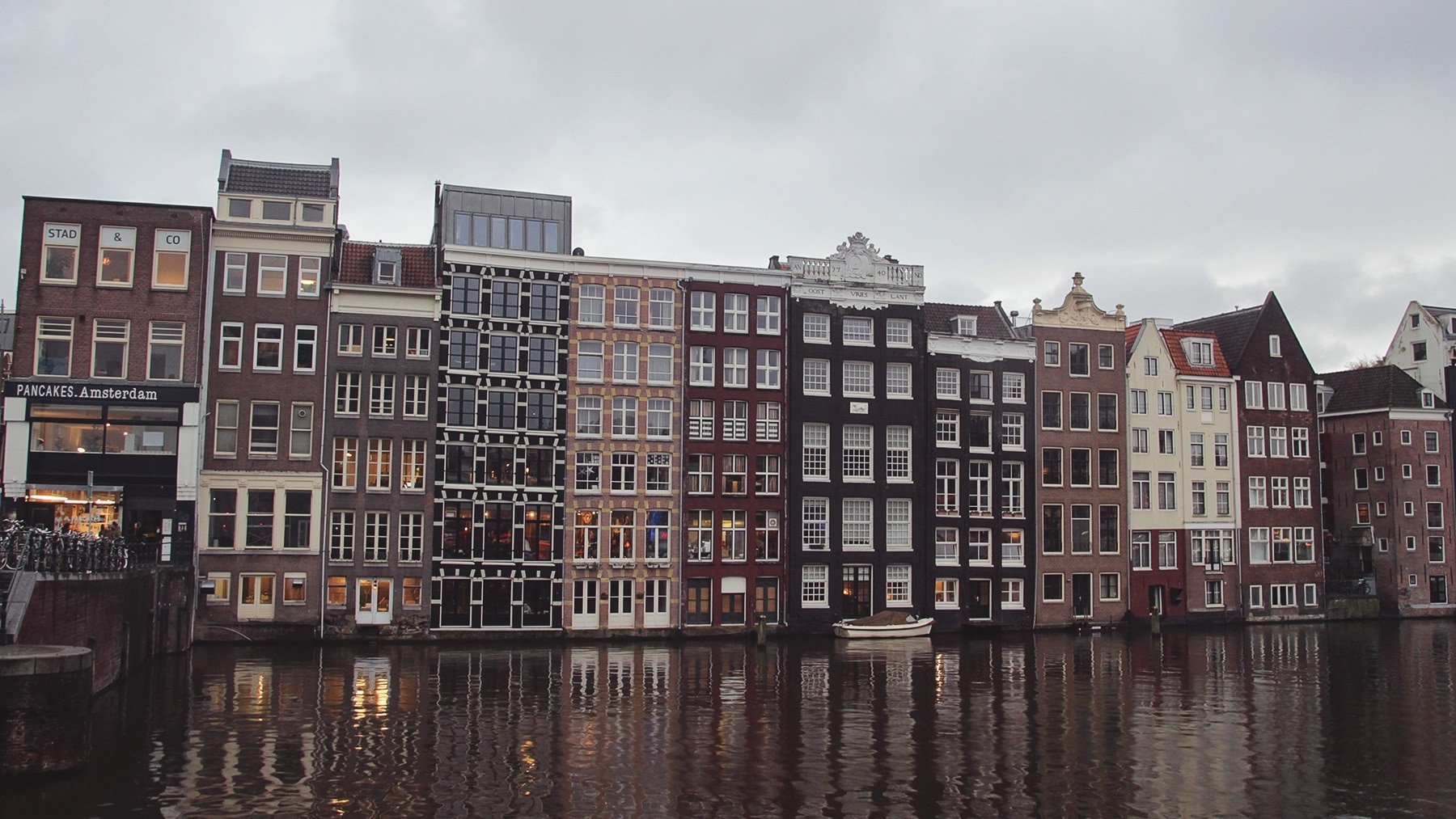 A row of houses off a canal in Amsterdam.