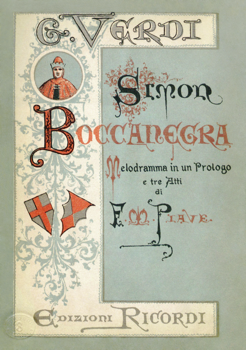 Cover to the first edition libretto for the 1881 revision of Giuseppe Verdi's Simon Boccanegra