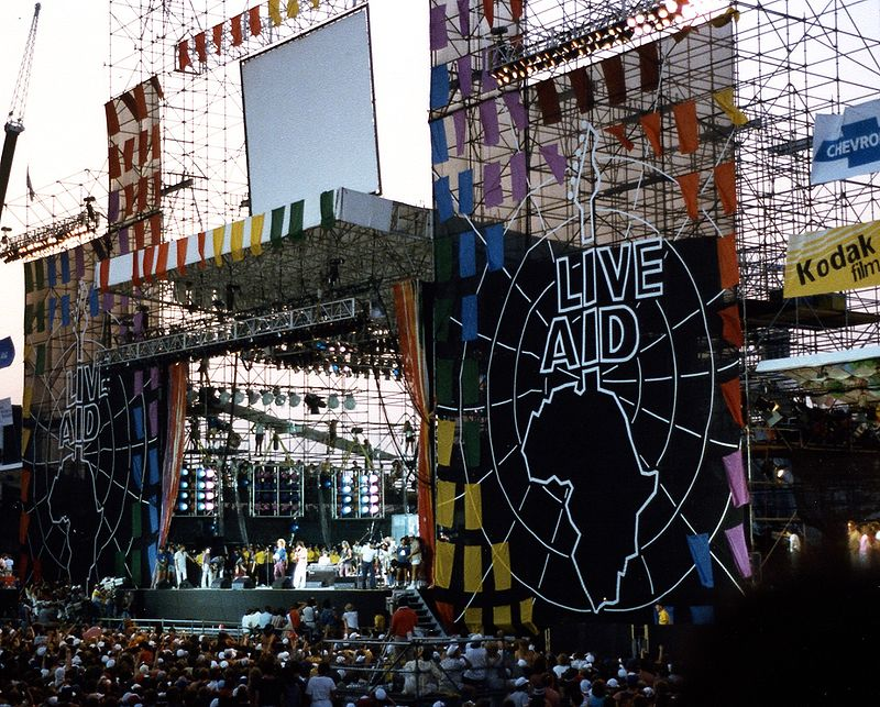 Stage view of Live Aid at John F. Kennedy Stadium in Philadelphia