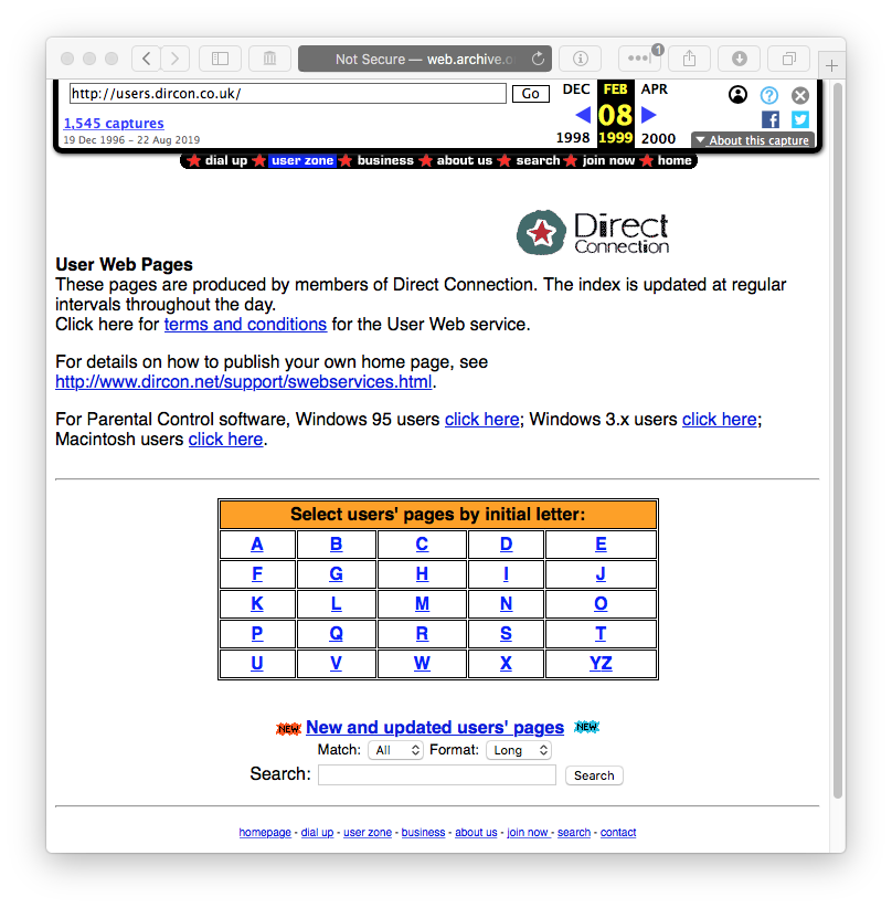 users.dircon.co.uk on web.archive.org