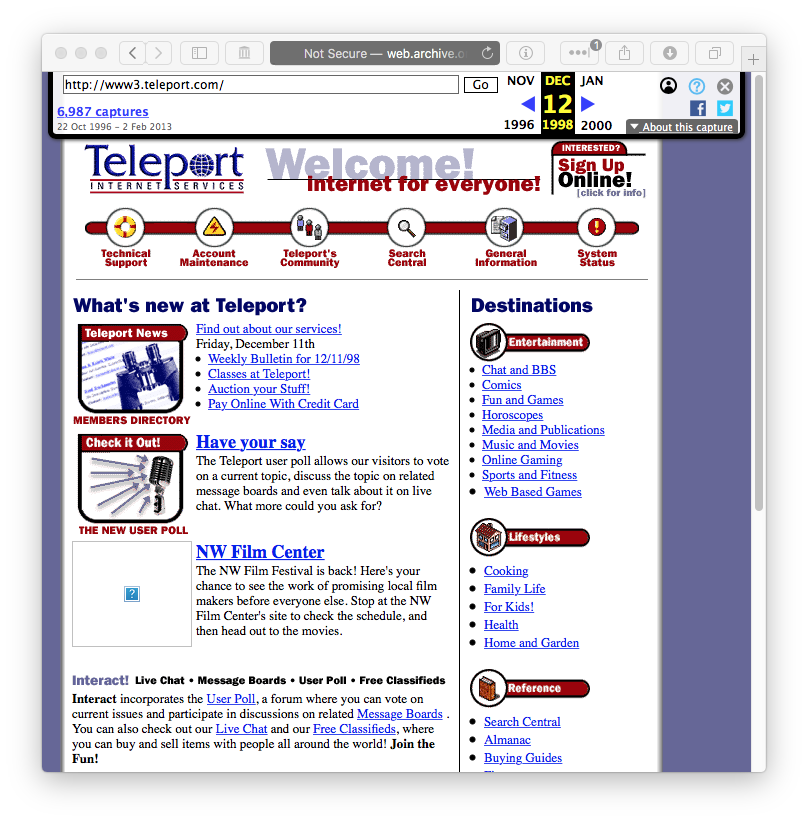 teleport.com on web.archive.org