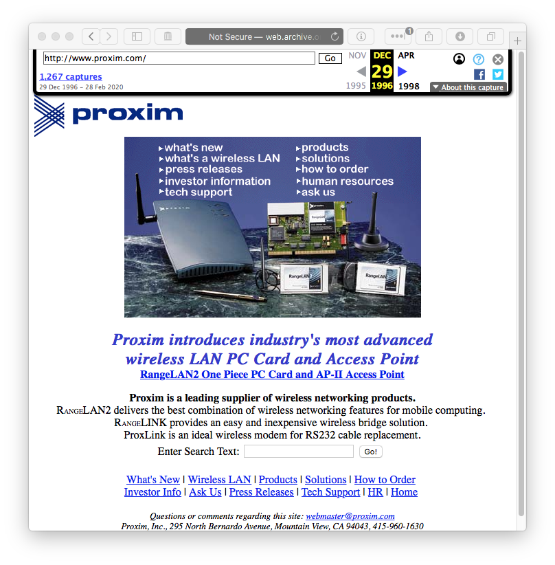 proxima.com on web.archive.org