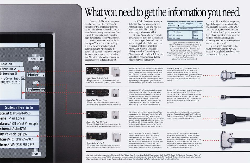 "Apple Computer brochure - ""What you need to get the information you need."", May 1989, LF/GORI 172K M0250LL/A"