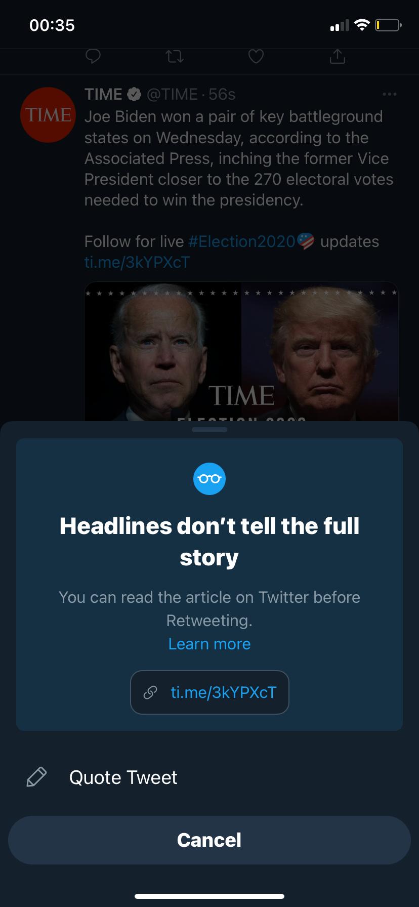 Iniciativa de Twitter para frenar la difusión de desinformación