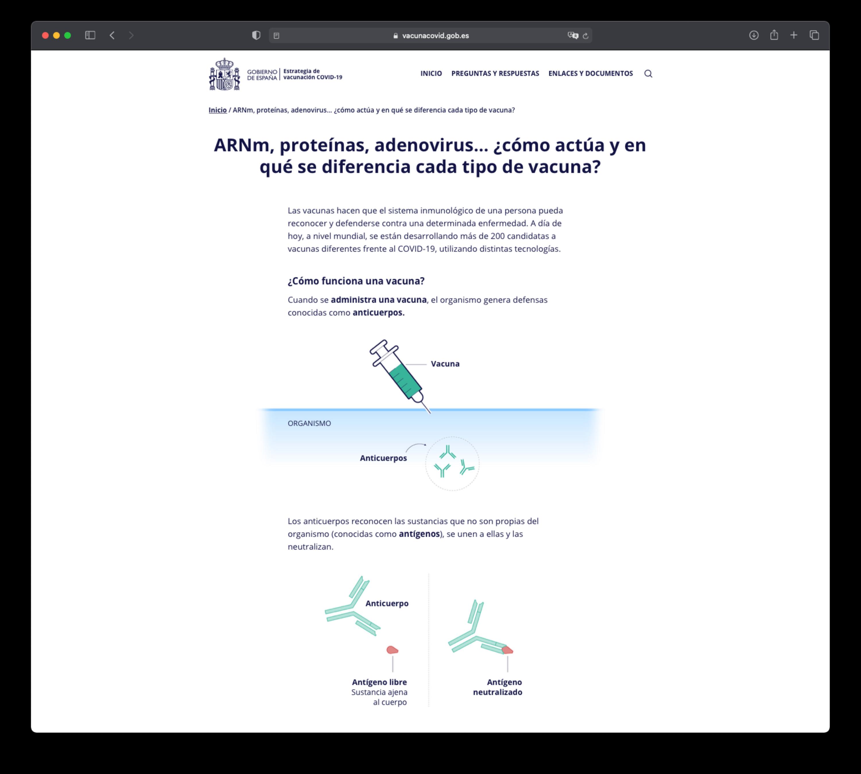 Imagen de la web del Gobierno de España que comunica la estrategia de vacunación