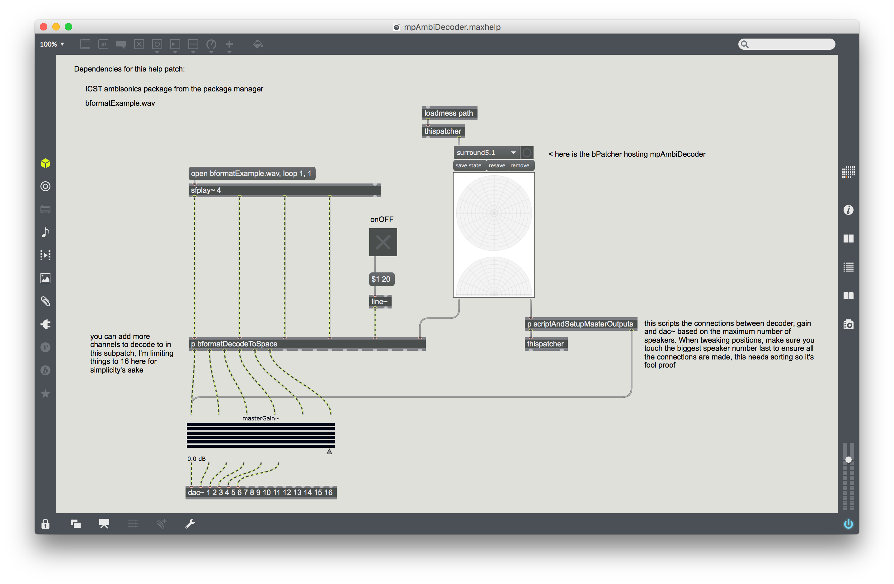 Screen shot of the help file showing how to wire up mpAmbiDecode as part of your patch