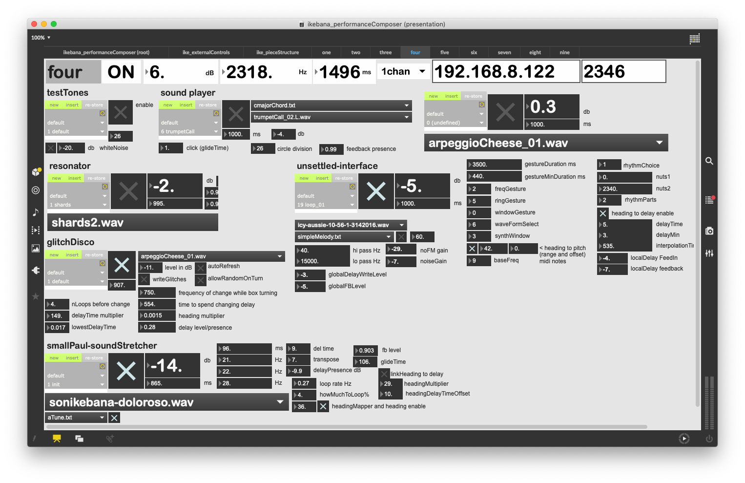 Composing interface for one of the speakers - screenshot